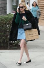 EMMA ROBERTS in Denim Skirt Shopping in Beverly Hills 12/21/2016