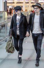 EVAN RACHEL WOOD with Her Boyfriend at Airport in Montreal 12/15/2016