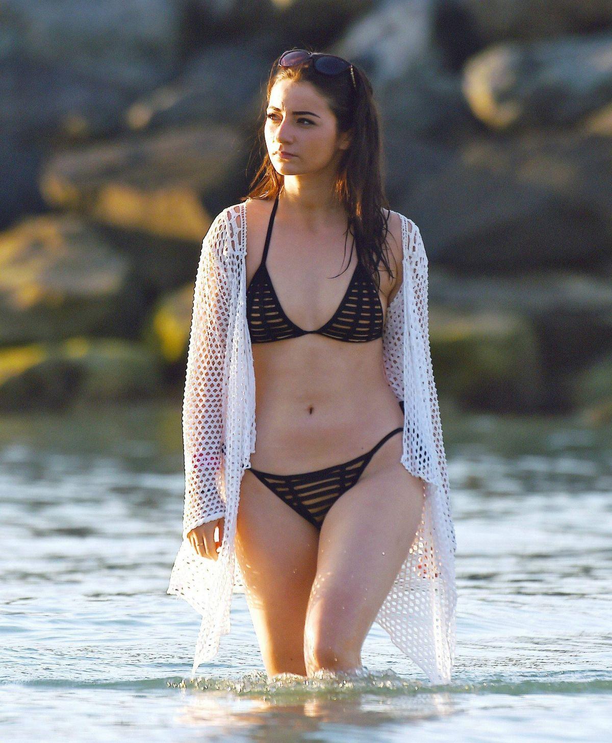 FRANCES BISHOP in Bikini at a Beach in Dubai 12/13/2016