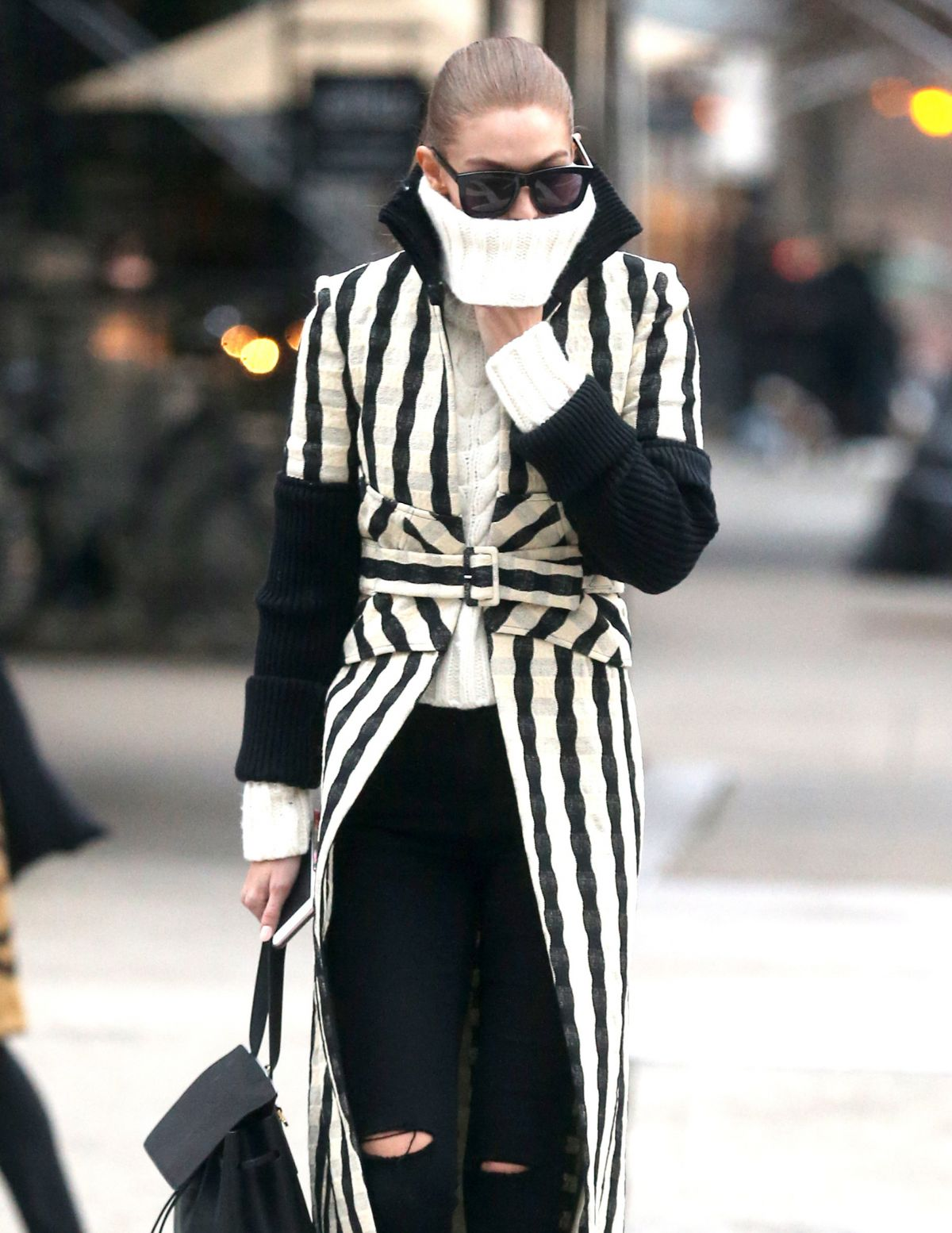 GIGI HADID Out in New York 12/12/2016