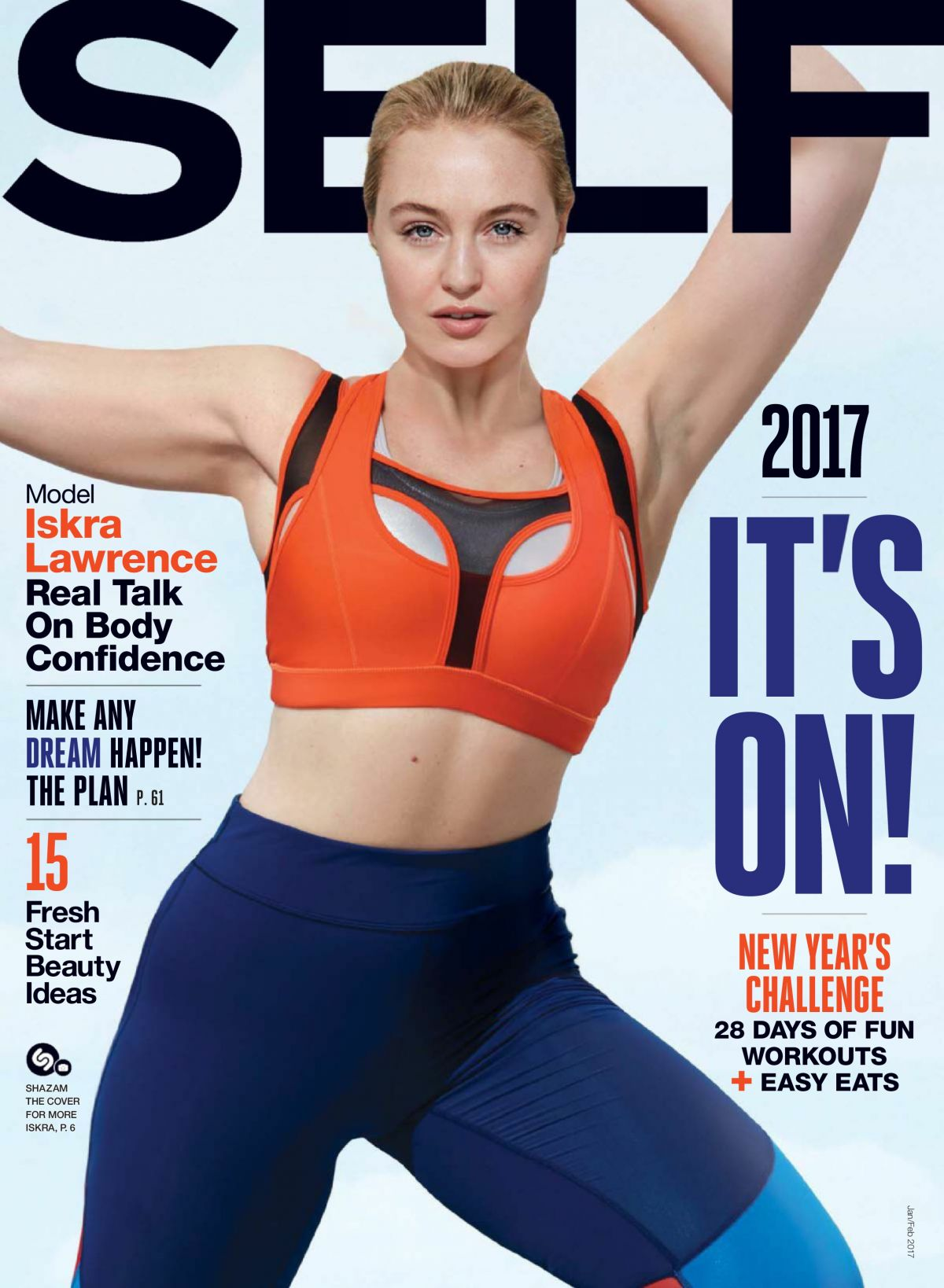ISKRA LAWRENCE in Self Magazine, January/February 2017