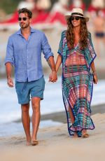 IZABEL GOULART and Kevin Trapp on the Beach in St. Barth 12/28/2016