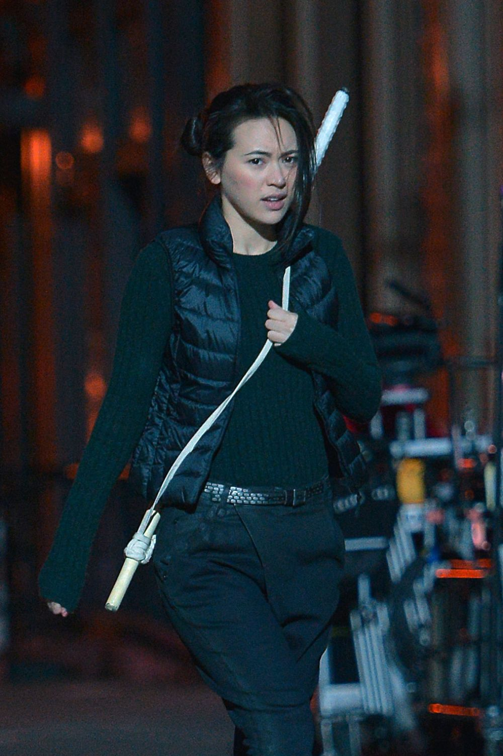 JESSICA HENWICK on the Set of