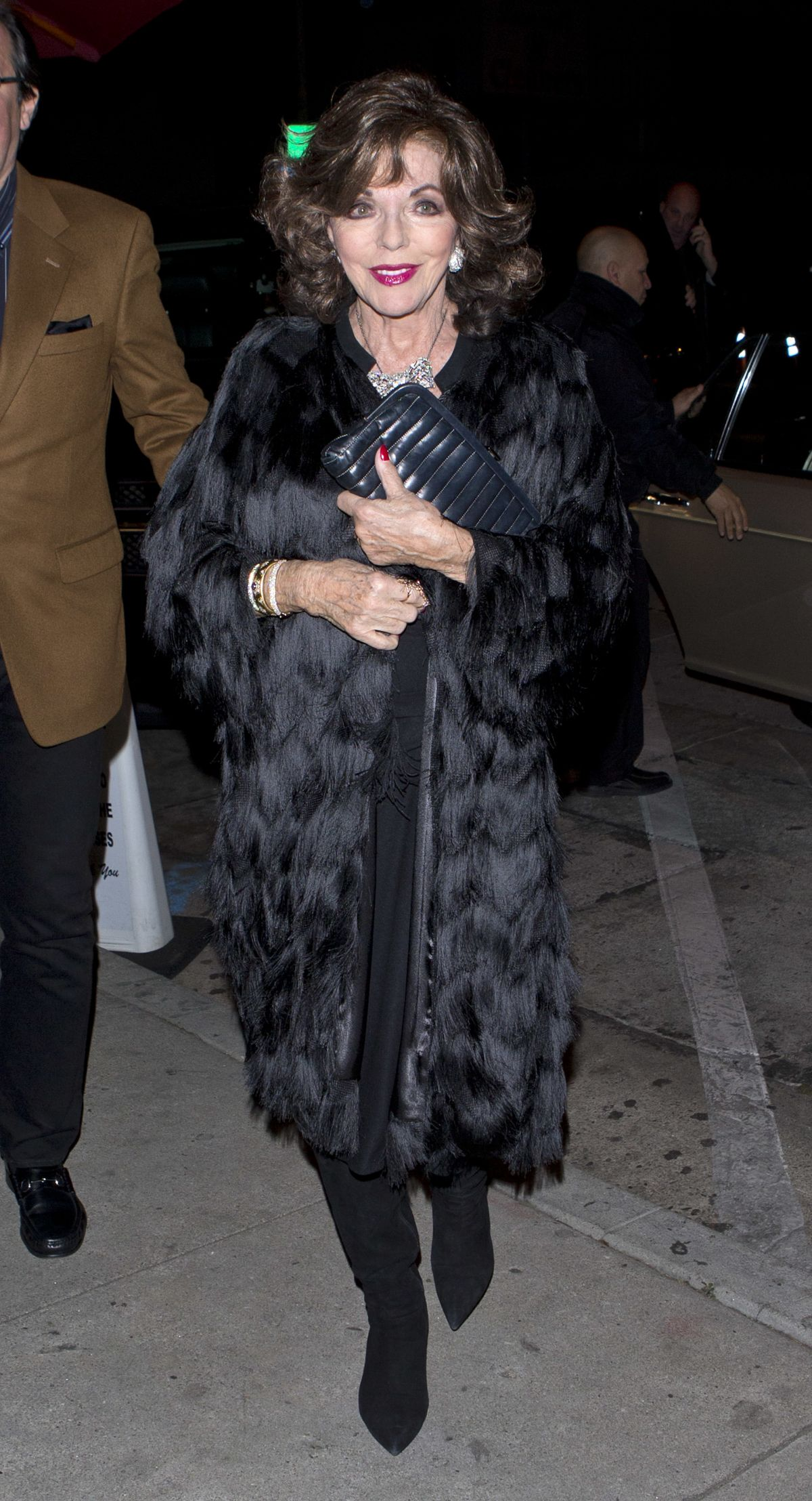 JOAN COLLINS Out for Dinner in West Hollywood 12/20/2016