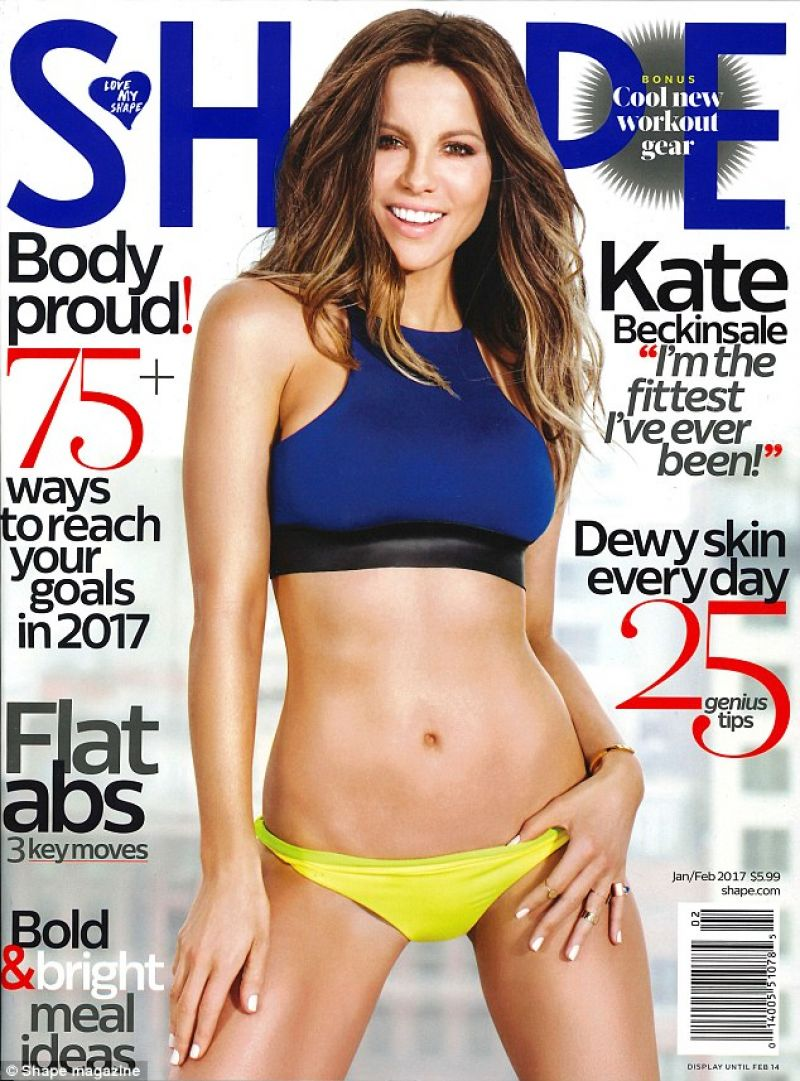 KATE BECKINSALE on the Cover of Shape Magazine, January 2017
