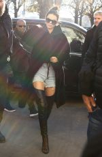 KENDALL JENNER in Denim Shorts Out in Paris 11/29/2016