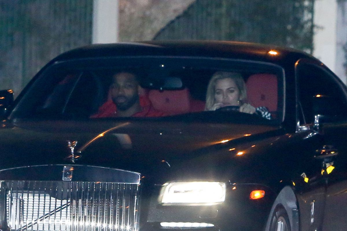 Khloe Kardashian And Tristan Thompson Drives In Rolls Royce Out In