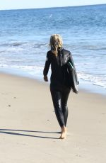 LADY VICTORIA HERVEY in Wetsuit on the Beach in Malibu 12/18/2016