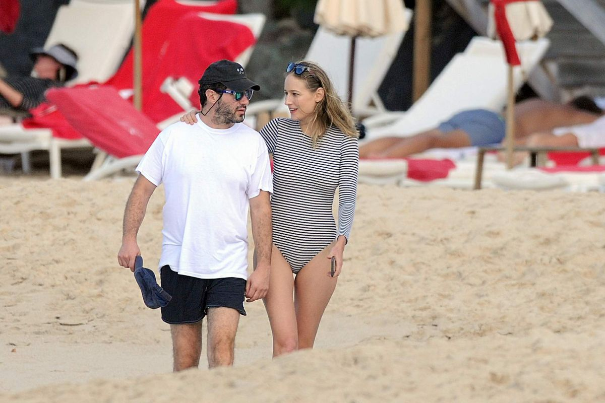 LEELEE SOBIESKI in Swimsuit on the Beach on St. Barts 12/30/2016