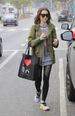 LILY COLLINS Leaves a Gym in West Hollywood 12/14/2016