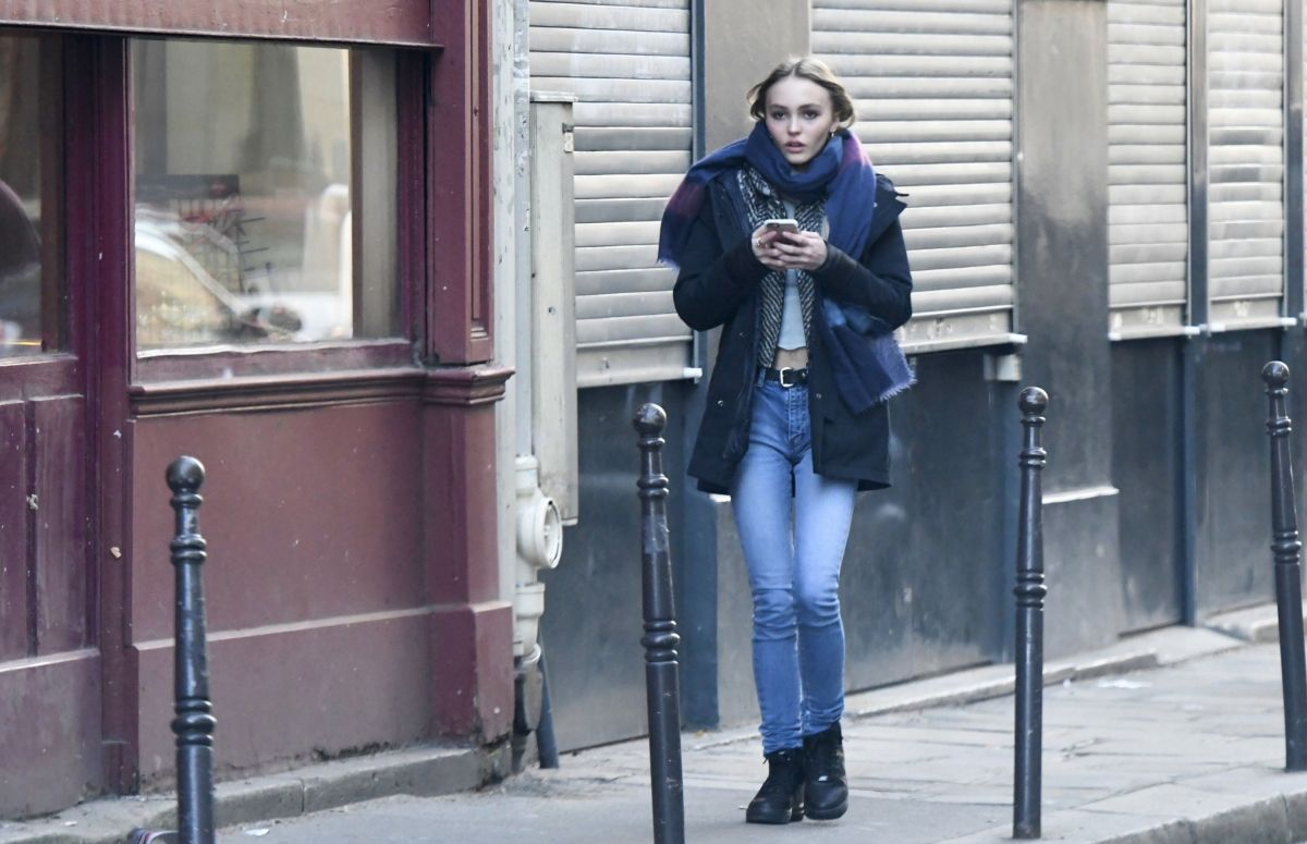 LILY-ROSE DEPP Out and About in Paris 12/04/2016