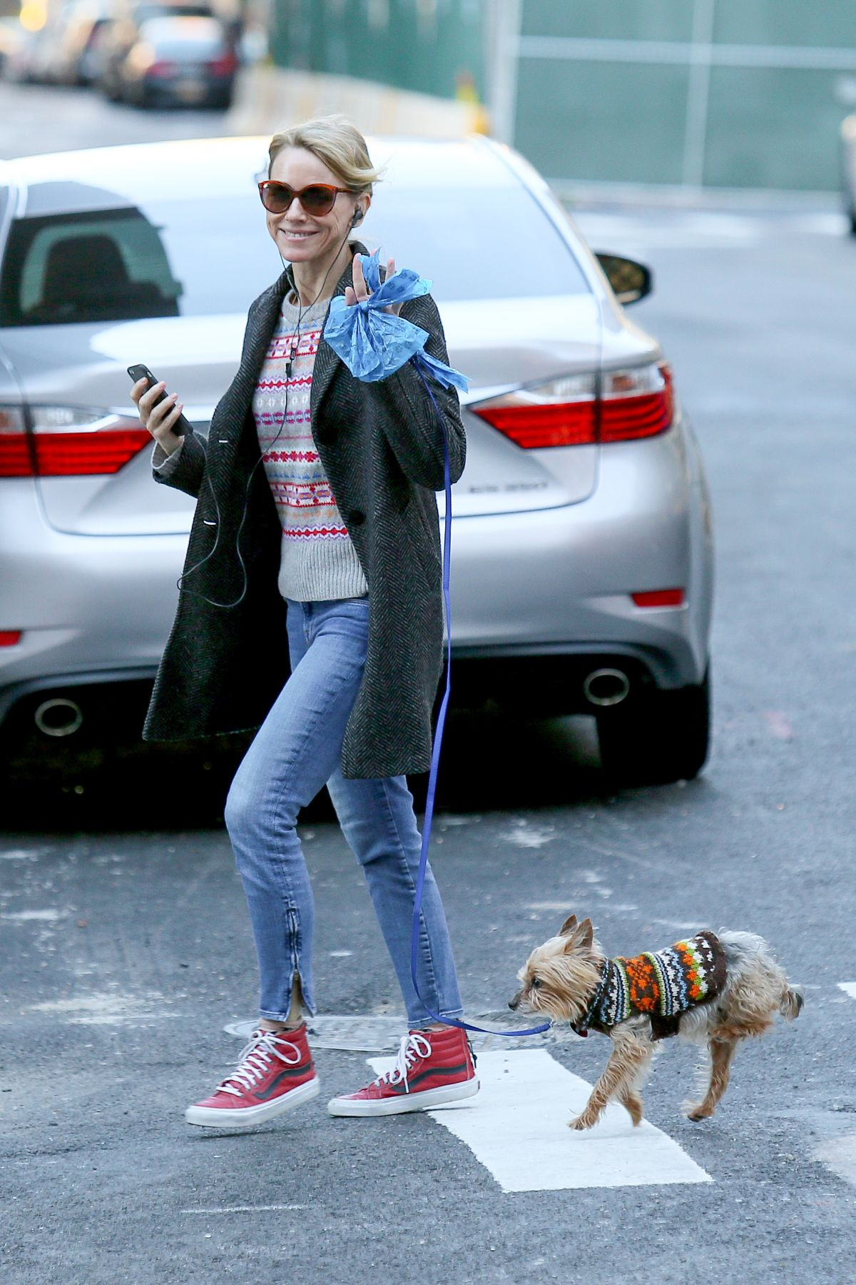 NAOMI WATTS Walks Her Dog Out in New York 12/25/2016