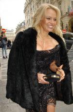 PAMELA ANDERSON Leaves Balzac Hotel in Paris 12/18/2016