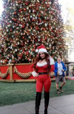 PHOEBE PRICE in Santa Outfit Out in Los Angeles 11/30/2016