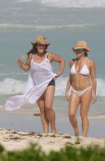 RICKI LAKE in Swimsuit with a Friend on the Beach in Cancun 12/27/2016