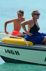 TALLIA STORM in Yellow Bikini at a Boat in Barbados 12/26/2016