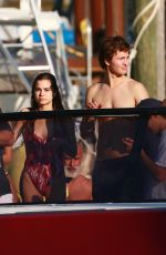VIOLETTA KOMYSHAN and Ansel Elgort on a Boat Ride in Miami 12/29/2016