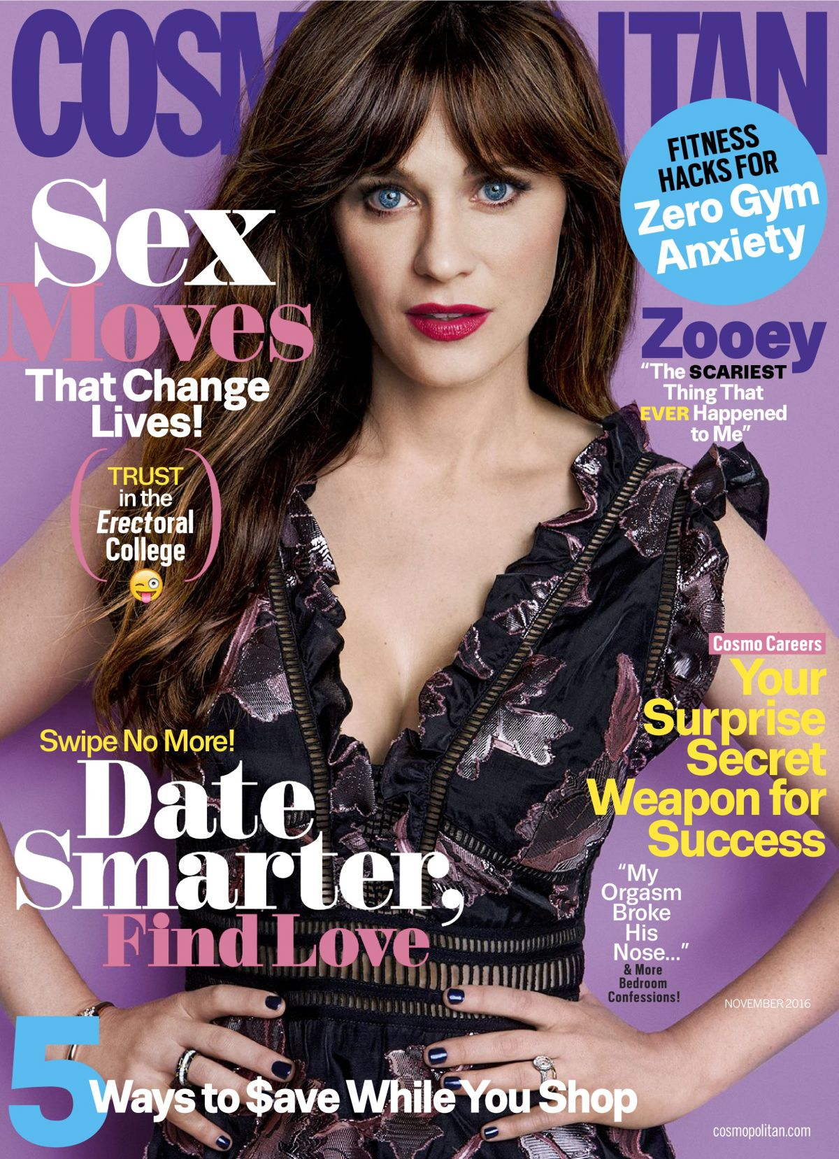 ZOOEY DESCHANEL in Cosmopolitan Magazine, November 2016