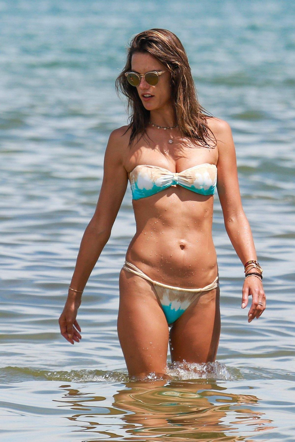 Alessandra Ambrosio in a bikini at the beach in Florianopolis