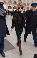 ANNA WINTOUR Arrives at Schiapparelli Fashion Show in Paris 01/23/2017