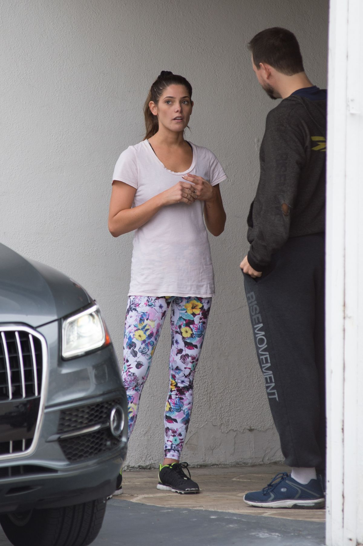 ASHLEY GREENE with Her Trainer at a Gym in Los Angeles 01/04/2017