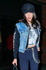BELLA HADID Out for Dinner in New York 01/13/2017