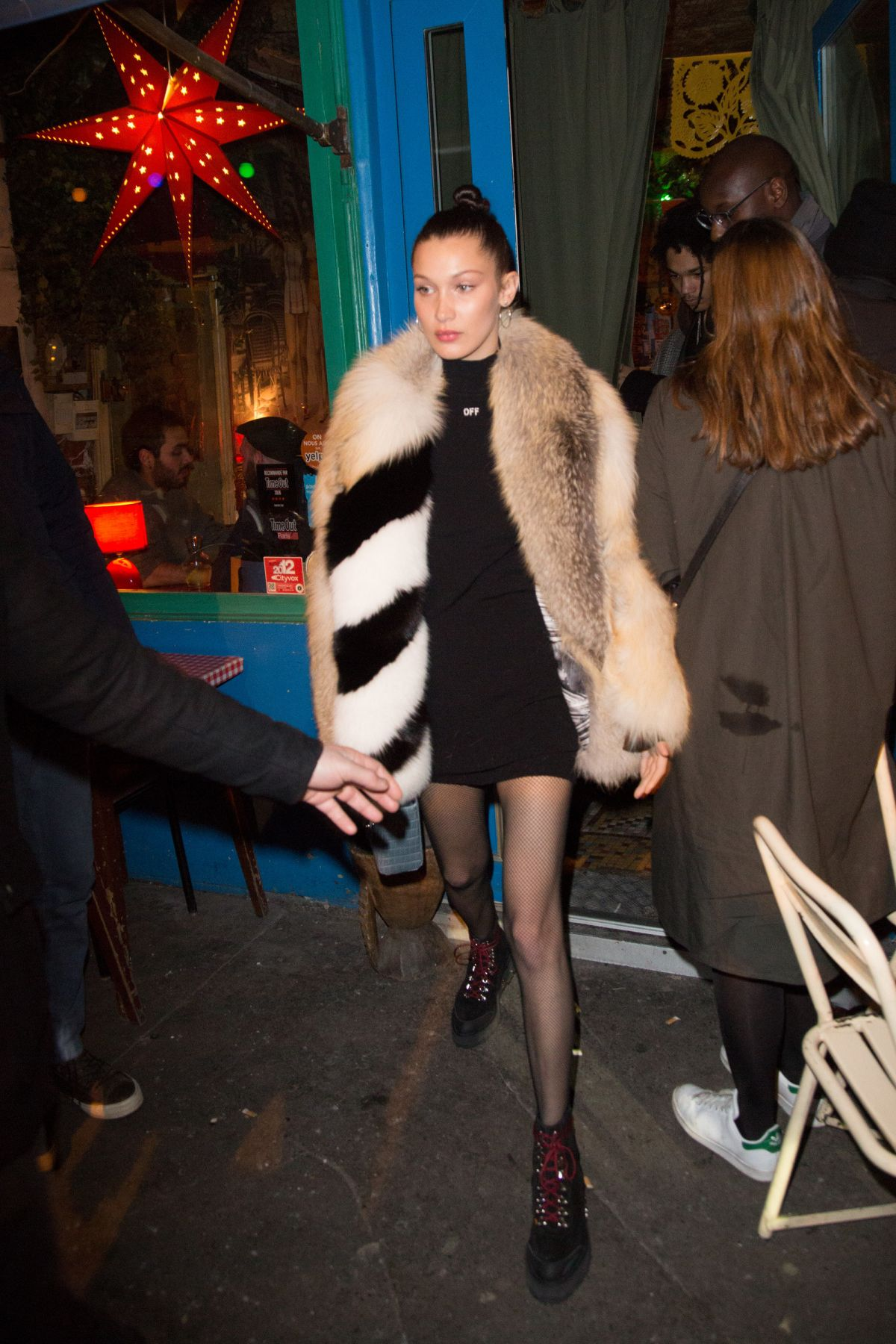 BELLA HADID Out for Dinner in Paris 01/21/2017