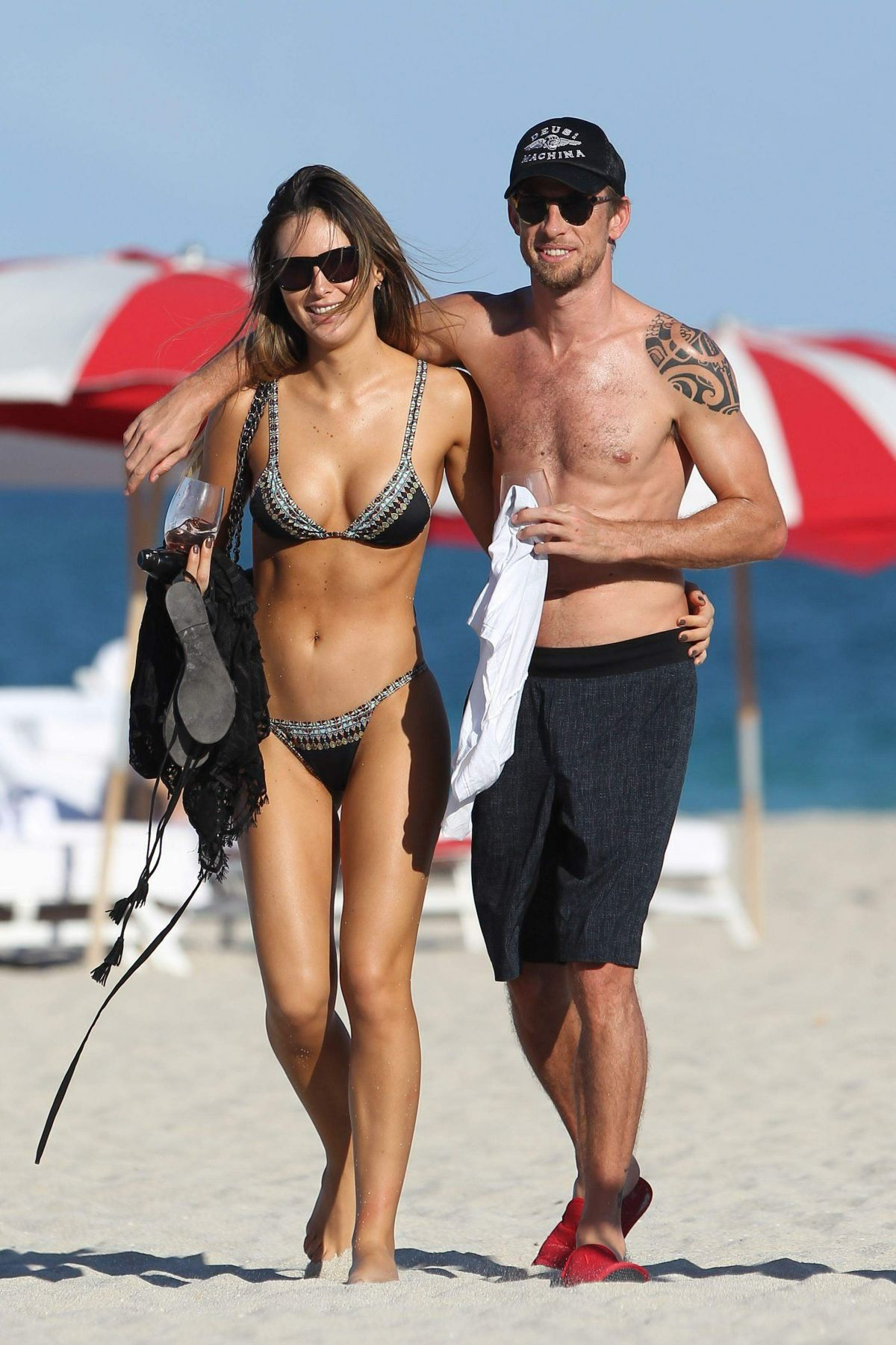 BRITTNY WARD and Jenson Button at a Beach in Miami 01/19/2017
