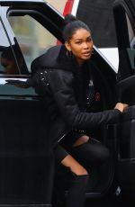 CHANEL IMAN and Sterling Shepard Out in New York 01/12/2017
