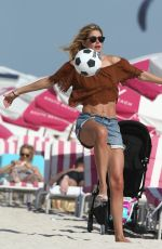 DOUTZEN KROES in Bikini Plays Beach Soccer at a Beach in Miami 01/01/2017