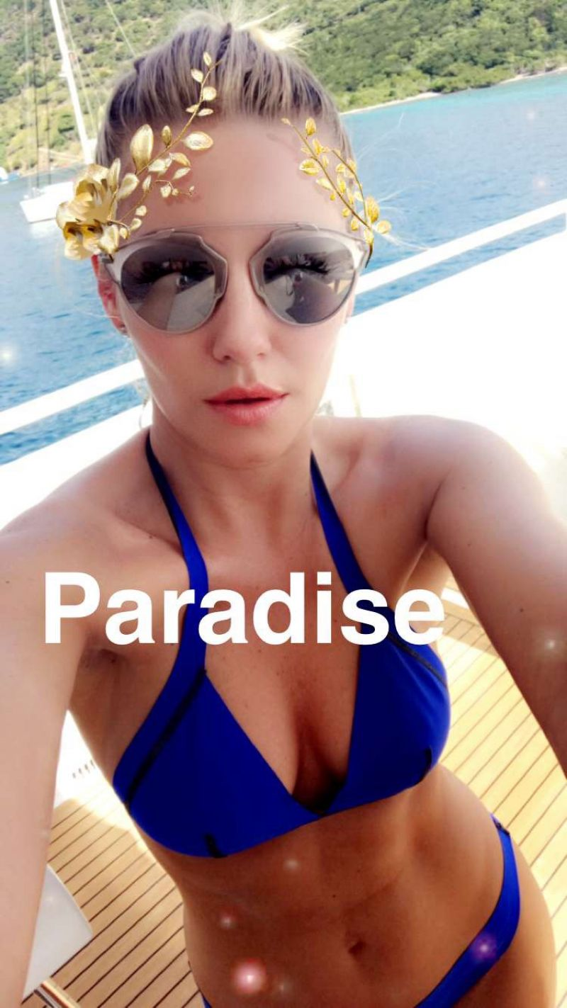 ELISHA CUTHBERT in ikini at a Boat, Snapchat Picture 01/03/2017