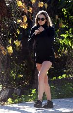 ELIZABETH OLSEN Out Joging in Cycling Shorts in Los Angeles 01/14/2017
