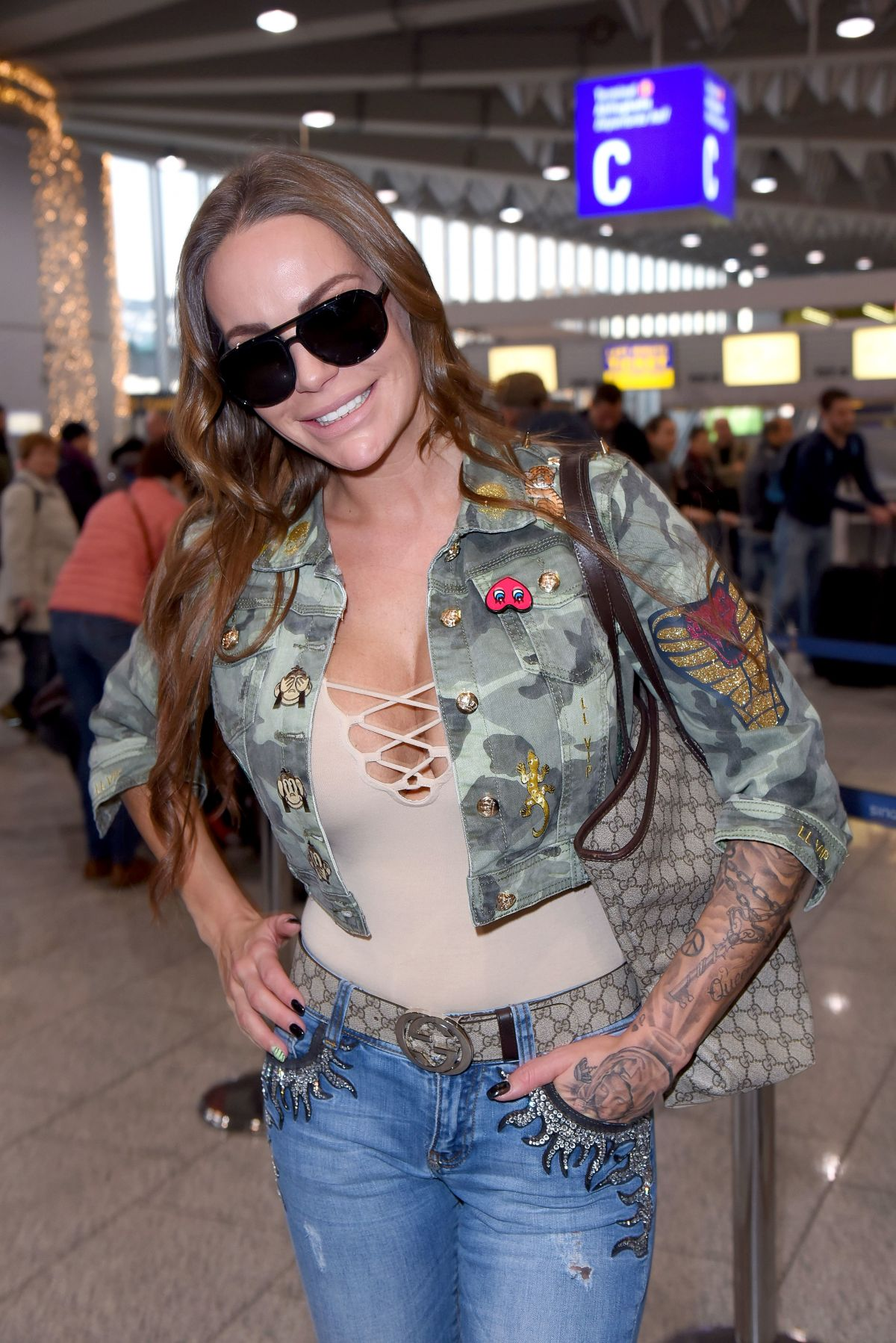 GINA LISA LOHFINK at Airport in Frankfurt am Main 01/06/2017