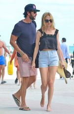 HEATHER GRAHAM Out with Her Boyfriend on the Beach in Miami 12/31/2016