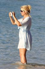 HOLLY WILLOUGHBY at a Beach in Caribbean 12/31/2016