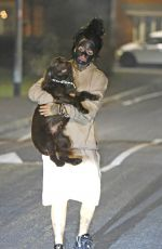 JEMMA LUCY Out with Her Dog for a Late Night Walk in Manchester 12/28/2016
