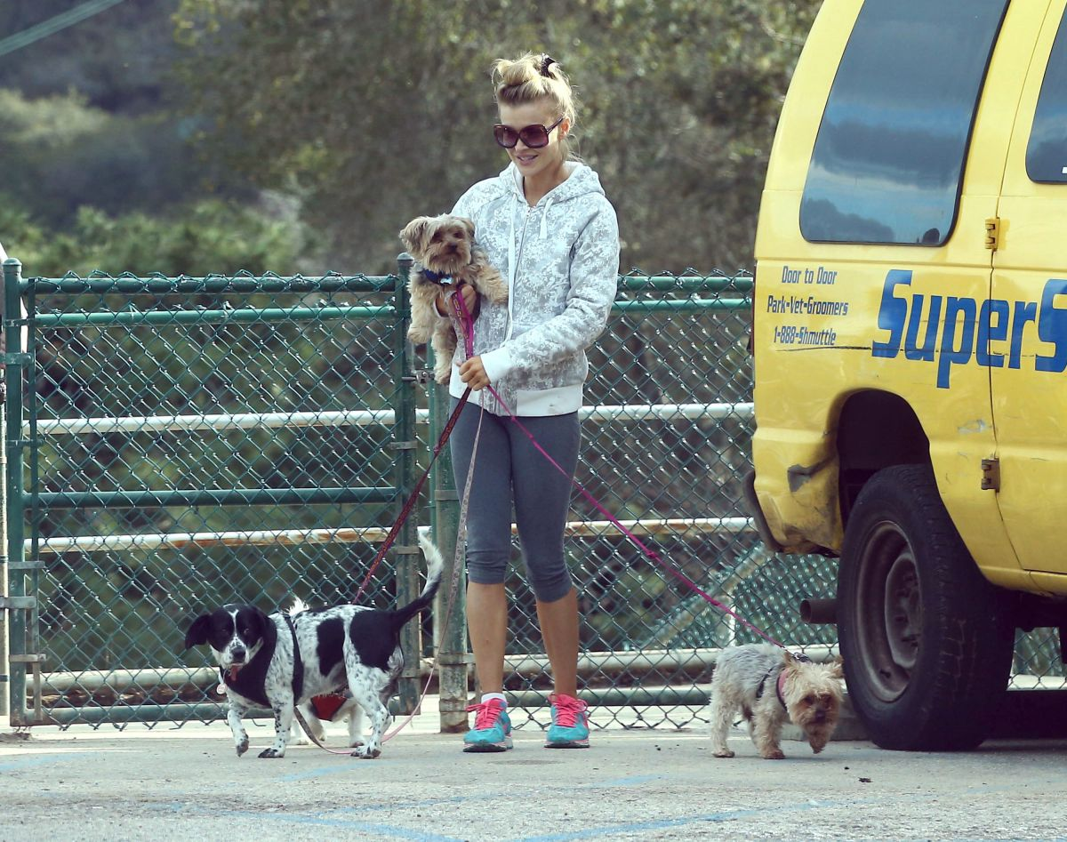 JOANNA KRUPA Out with Her Dogs at a Park in Hollywood 01/13/2017