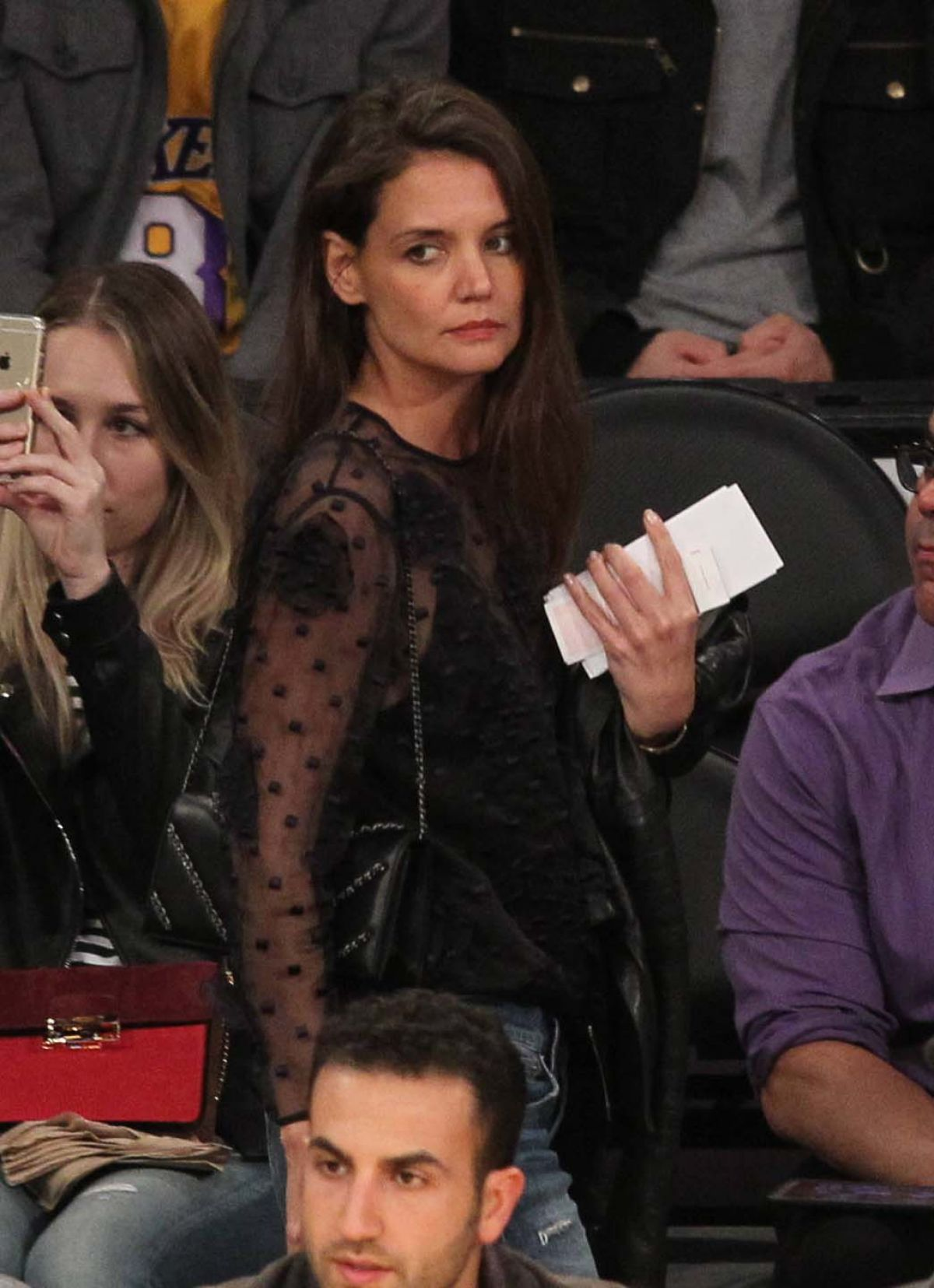 KATIE HOLMES at LA Lakers Game in Los Angeles 01/15/2017
