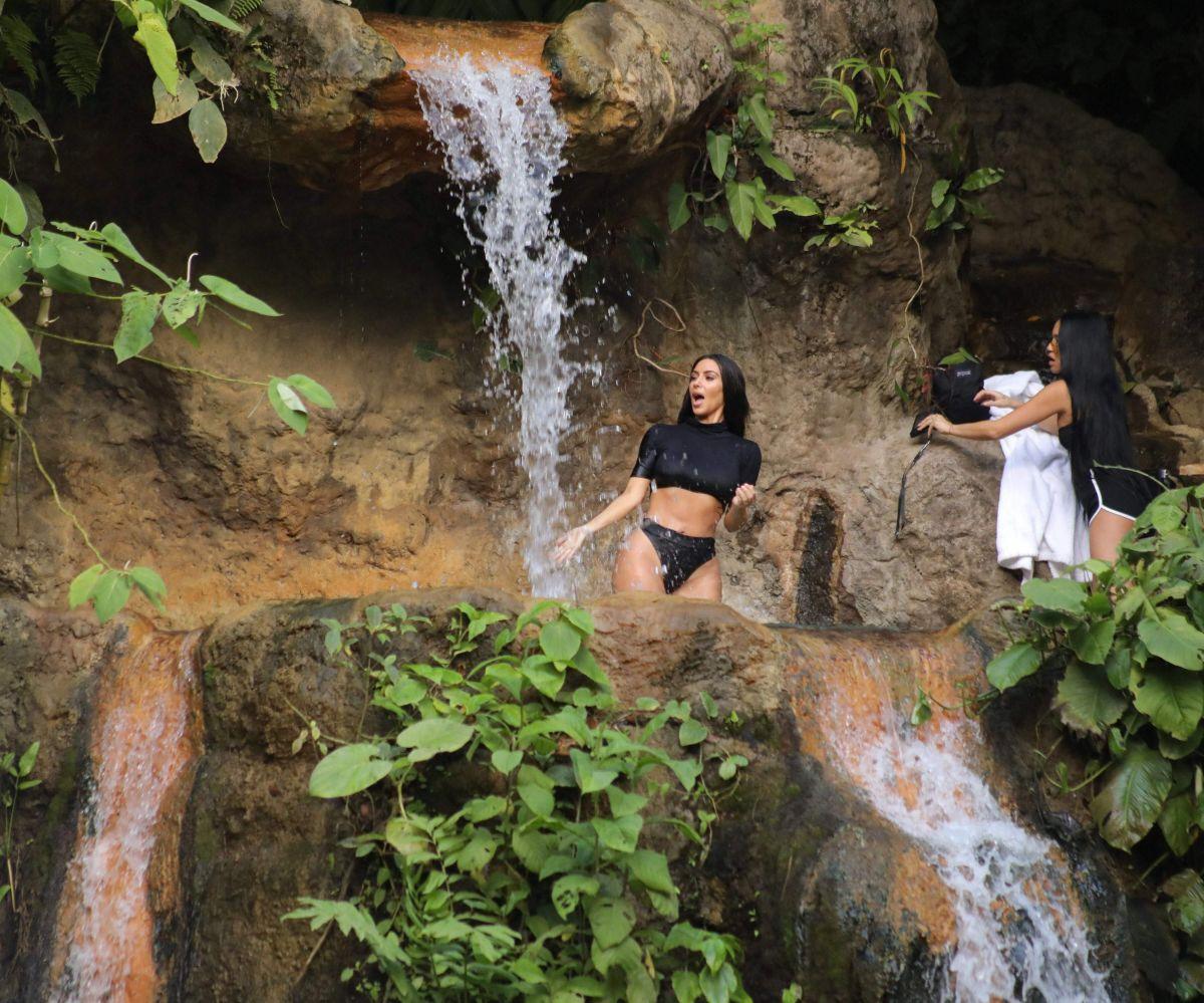 KIM KARDASHIAN in a Waterfall in Costa Rica 01/29/2017
