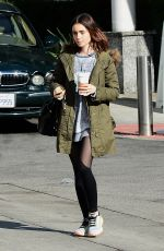 LILY COLLINS Arrives at a Gym in Los Angeles 01/23/2017