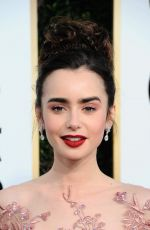 LILY COLLINS at 74th Annual Golden Globe Awards in Beverly Hills 01/08/2017
