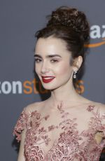 LILY COLLINS at Amazon Studios' Golden Globes Party in Beverly Hills 01/08/2017