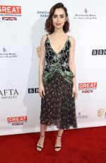 LILY COLLINS at Bafta Tea Party in Los Angeles 01/07/2017