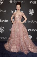 LILY COLLINS at Warner Bros. Pictures & Instyle's 18th Annual Golden Globes Party in Beverly Hills 01/08/2017