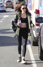 LILY COLLINS in Tights at a Gym in Beverly Hills 01/27/2017