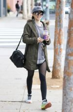 LILY COLLINS Leaves a Gym in Los Angeles 01/03/2017