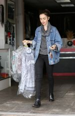 LILY COLLINS Leaves Dry Cleaners in Beverly Hills 01/05/2017