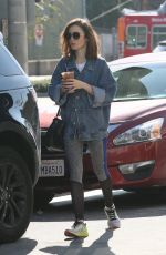 LILY COLLINS Out for Coffee in Los Angeles 01/26/2017