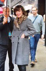 MILLA JOVOVICH Arrives at AOL Studios in New York 01/26/2017