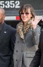 MILLA JOVOVICH Arrives at Jimmy Kimmel Live in Los Angeles 01/24/2017